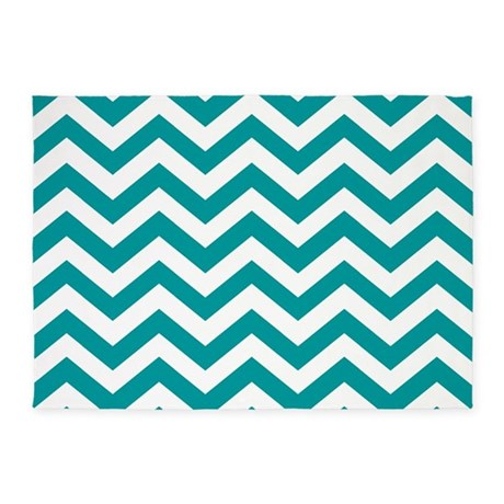 Blue, Teal: Chevron Pattern 5u0027x7u0027Area Rug