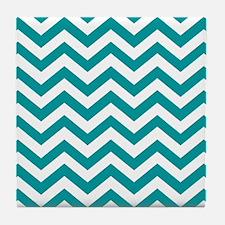 Blue, Teal: Chevron Pattern Tile Coaster