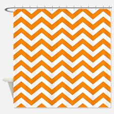Orange Chevron Pattern Shower Curtain