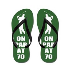 Golfer's 70th Birthday Flip Flops
