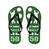 50th birthday golf Flip Flops