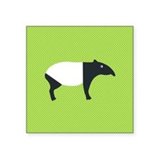 Malayan Tapir on Green Polka-Dot Backgroun Sticker