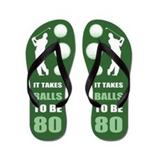 Funny Golf 80th Birthday Flip Flops