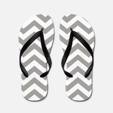 Grey, Fog: Chevron Pattern Flip Flops