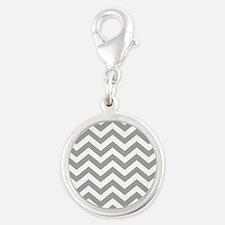 Grey, Fog: Chevron Pattern Silver Round Charm