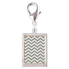 Grey Chevron Pattern Silver Portrait Charm