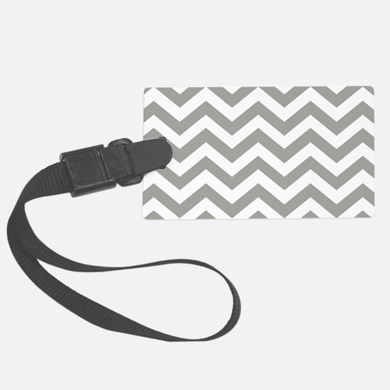 Grey, Fog: Chevron Pattern Large Luggage Tag