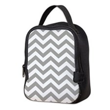 Grey Chevron Pattern Neoprene Lunch Bag