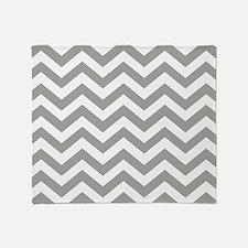 Grey, Fog: Chevron Pattern Throw Blanket