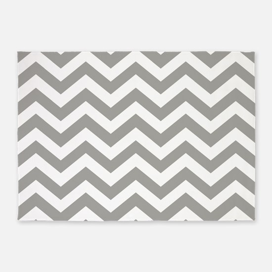 Grey, Fog: Chevron Pattern 5'x7'Area Rug