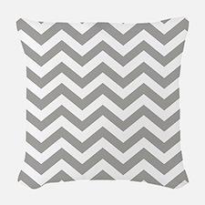 Grey Chevron Pattern Woven Throw Pillow