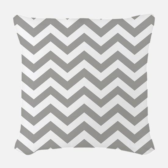 Grey, Fog: Chevron Pattern Woven Throw Pillow