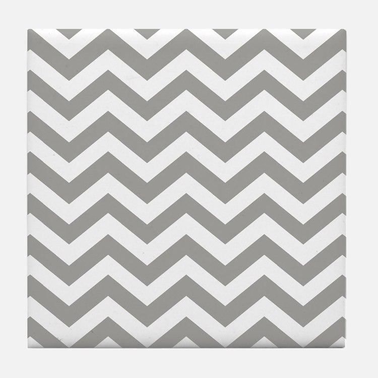 Grey, Fog: Chevron Pattern Tile Coaster
