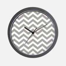 Grey Chevron Pattern Wall Clock