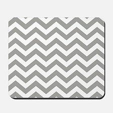 Grey, Fog: Chevron Pattern Mousepad