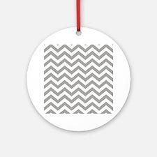 Grey, Fog: Chevron Pattern Round Ornament