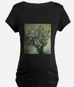 Vase of Flowers by Claude Monet Maternity T-Shirt