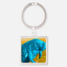 Painted Manatee Artwork Square Keychain