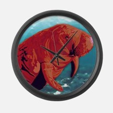 Painted Manatee Artwork Large Wall Clock