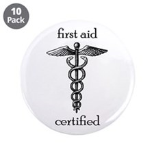 """First Aid Certified 3.5"""" Button (10 Pack)"""