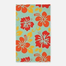 Teal-orange-red-yellow Hawaiian Hibiscus Area Rug