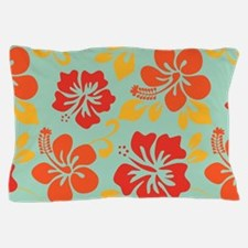 Teal-orange-red-yellow Hawaiian Hibiscus Pillow Ca