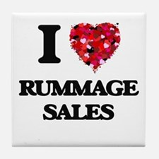 I Love Rummage Sales Tile Coaster