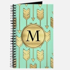 Boho Mint and Faux Gold Arrows Monogram Journal