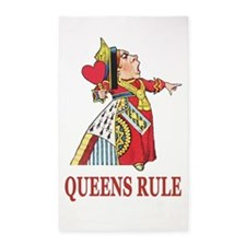 Queens Rule, says the Queen of Hearts Area Rug