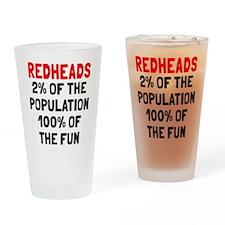 Redheads 100% Fun Drinking Glass