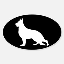 White German Shepherd Oval Decal