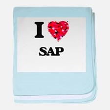 I Love Sap baby blanket