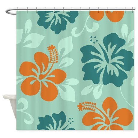 Teal Orange Hawaiian Hibiscus Shower Curtain By Yneami
