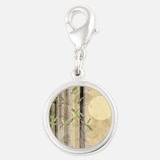 Bamboo Kimono Neutral Tones Silver Round Charm