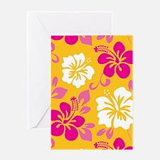 Yellow-magenta-white Hawaiian hibisc Greeting Card