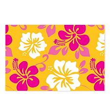 Yellow-magenta-white Hawaiian Hibiscus Postcards (