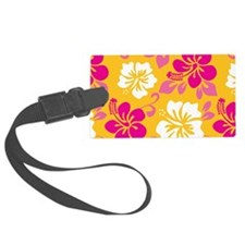 Yellow-magenta-white Hawaiian Hibiscus Luggage Tag