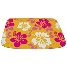 Yellow-magenta-white Hawaiian Hibiscus Bathmat