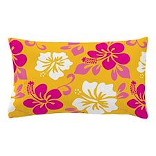Yellow-magenta-white Hawaiian Hibiscus Pillow Case