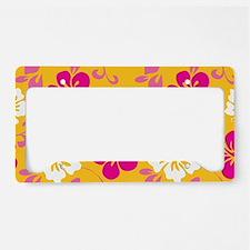 Yellow-magenta-white Hawaiian Hibiscus License Pla