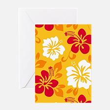 Yellow-red-orange-white Hawaiian Hibiscus Greeting