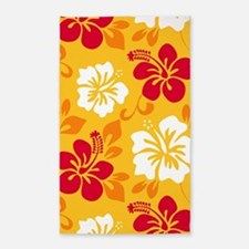 Yellow-red-orange-white Hawaiian Hibiscus Area Rug