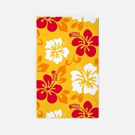 Yellow-red-orange-white Hawaiian Hibiscus Area Rug