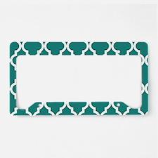 Blue, Teal: Quatrefoil Morocc License Plate Holder