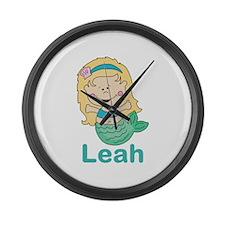 leah's mermaid personalized Large Wall Clock