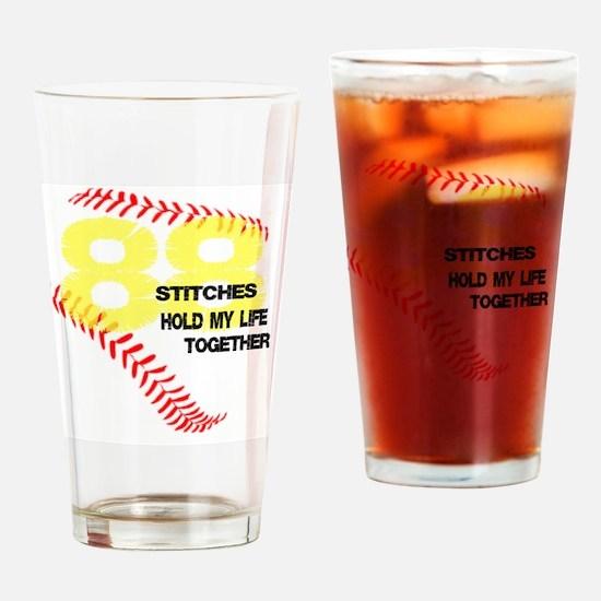 88 stitches Drinking Glass
