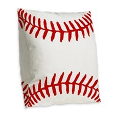 Baseball Laces Square Burlap Throw Pillow