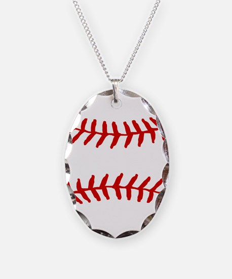 Baseball Laces Square Necklace