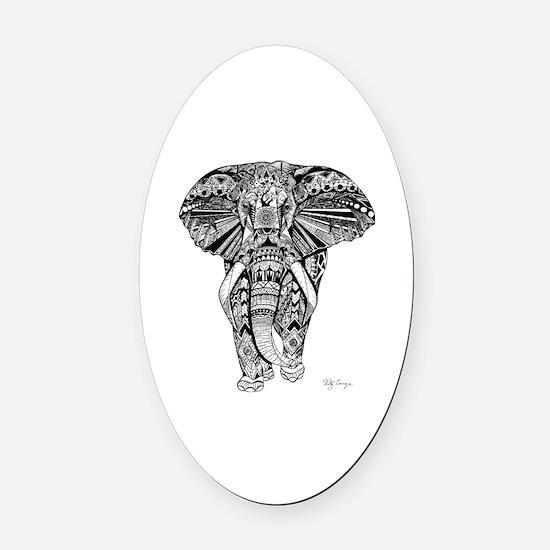 Elephant Oval Car Magnet