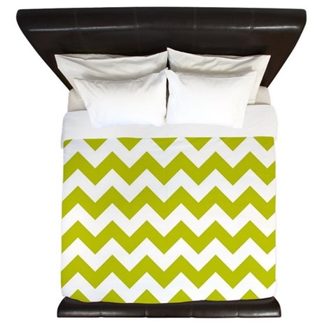 Chartreuse Green Herringbone King Duvet